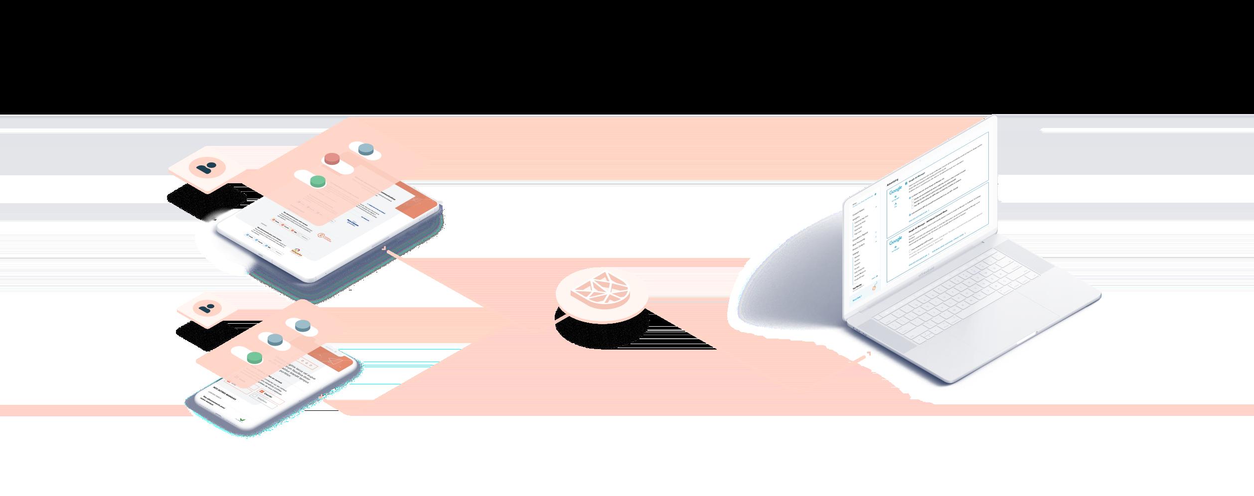 Visuel montrant des utilisateurs donnant leur consentement et changeant leurs préférences via Didomi