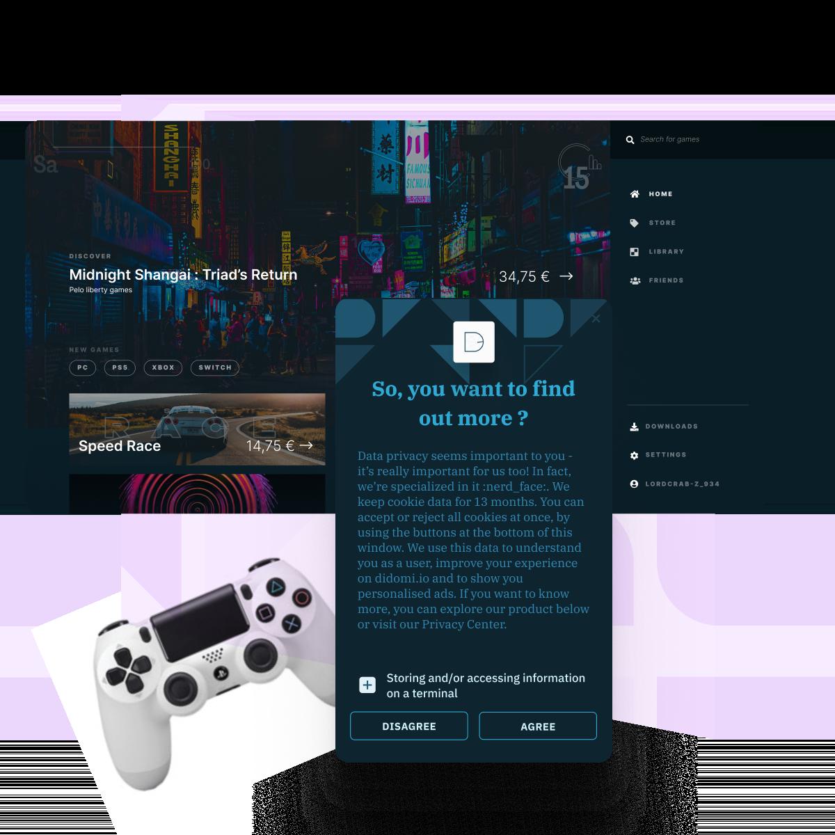 Illustration de la gestion du consentement conforme dans le jeu vidéo