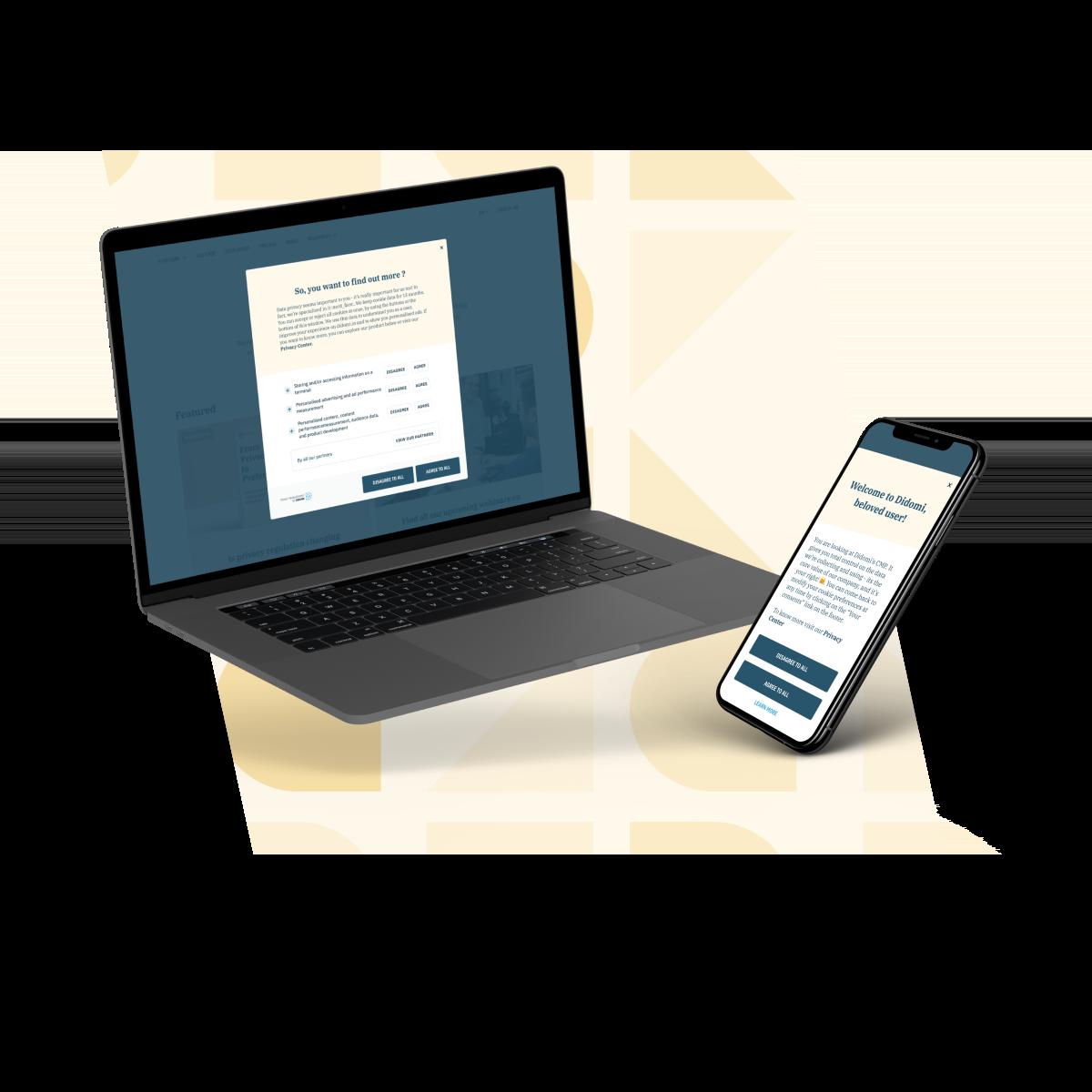 Illustration d'une notice de consentement sur un site ou une application d'un média